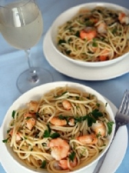 Tiger prawns with lemon for two