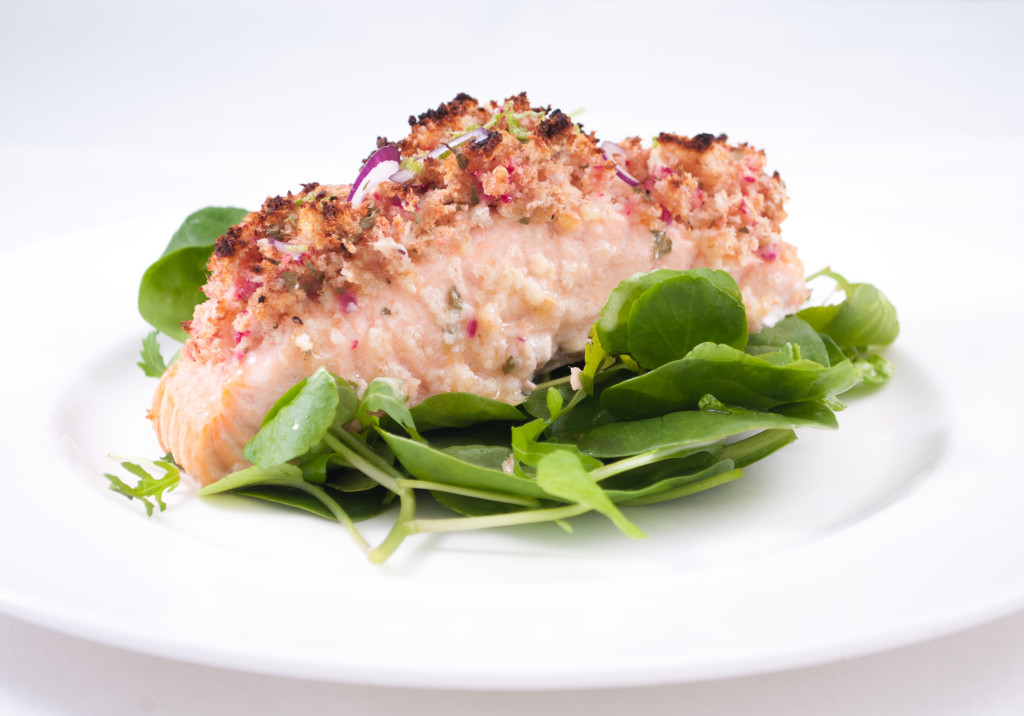 Zesty crusted salmon with lime and ginger