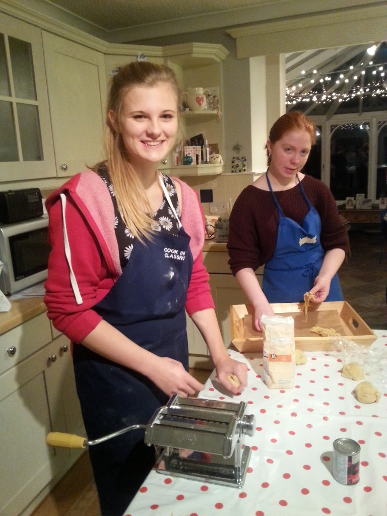 Lucy & Amelia taking time off between chats to make fresh pasta!