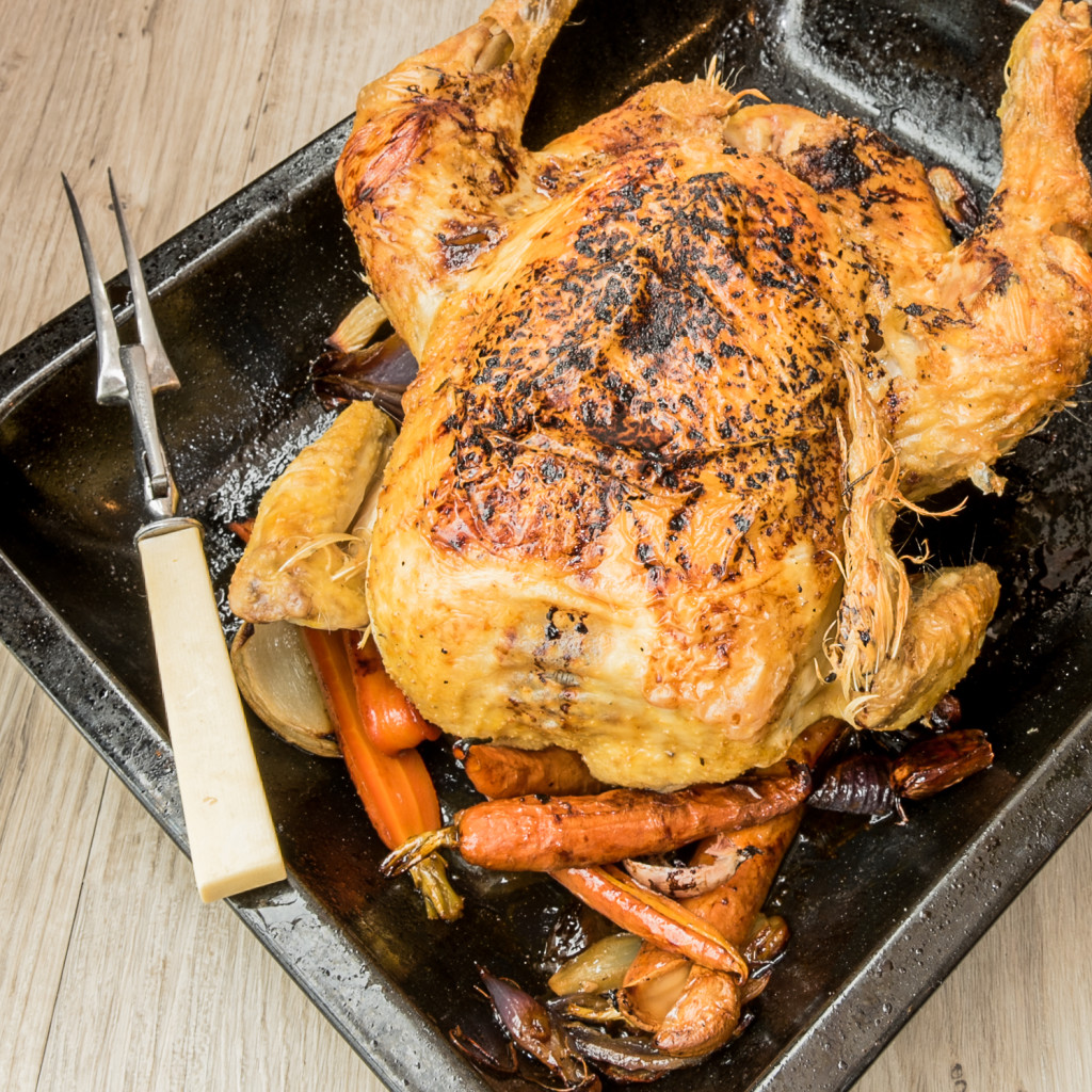Roast Herby Chicken with Sticky Roots